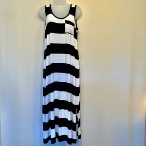 Calvin Klein Black and White Striped Tank Dress